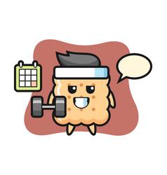 Cracker mascot cartoon doing fitness with dumbbell vector