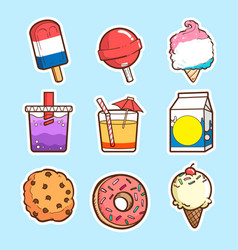 Cute sticker set collections vector