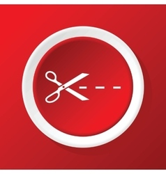 Cutting scissors icon on red vector