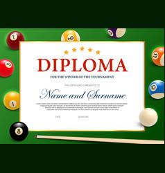 Diploma for winner billiard tournament vector