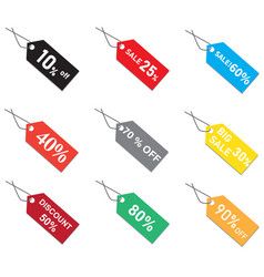 discount prices tags on white background sales vector image