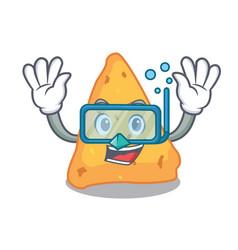 Diving nachos character cartoon style vector