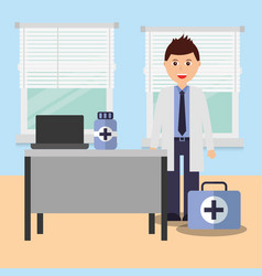 Doctor in consulting room with desk laptop vector