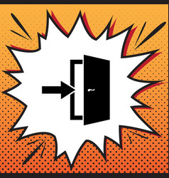 Door exit sign comics style icon on pop vector