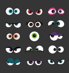 Eyes set funny comic monster vector