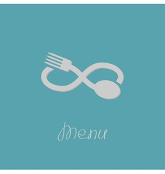 Fork spoon and infinity sign Menu card Flat design vector image