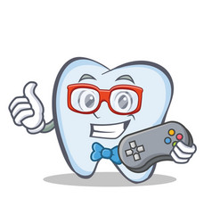 Gamer tooth character cartoon style vector