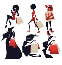 Girls and shopping bags vector