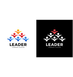 group people logo handshake teamwork icon leader vector image