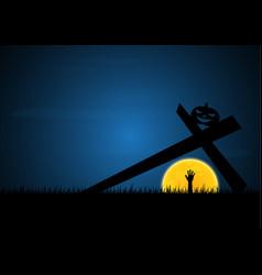 halloween zombie hand moon cross pumpkin vector image