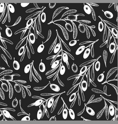 hand drawn olive seamless pattern olives on chalk vector image