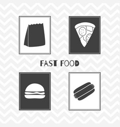 hand drawn silhouettes fast food posters vector image