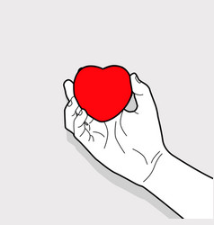 hand outline holding red heart symbol vector image