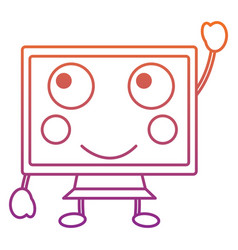 Happy computer monitor kawaii icon image vector
