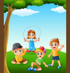 Happy kids playing on the field vector