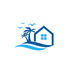 house wave logo icon design vector image