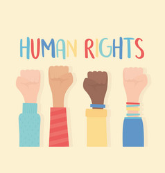 Human rights raised hands in fist gesture vector
