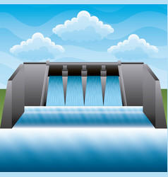 hydroelectric power station power energy clean vector image