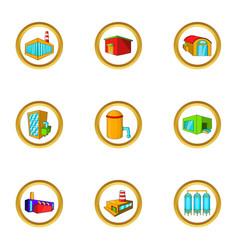 Industry icon set cartoon style vector