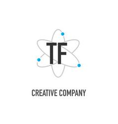 Initial letter tf atom neutron design logo vector