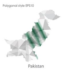 Isolated icon pakistan map polygonal geometric vector