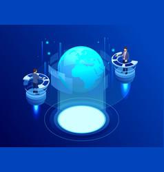 isometric global network concept global network vector image