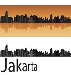 Jakarta skyline in orange background vector image