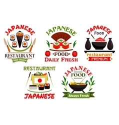 Japanese food restaurant emblems vector