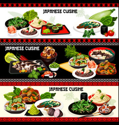 Japanese seafood meat veggies with rice noodles vector