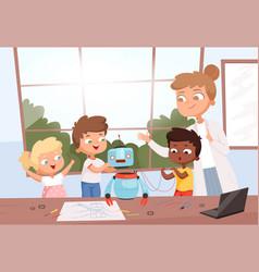 kids with teacher robot programming future vector image