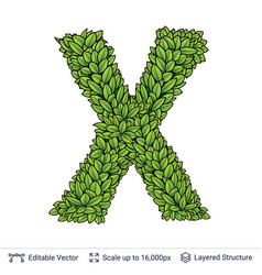 letter x symbol of green leaves vector image