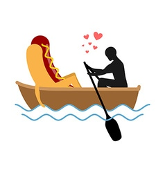 Man and hot dog in boat ride Lovers of sailing Man vector image