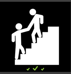 Man helping climb other man it is white icon vector