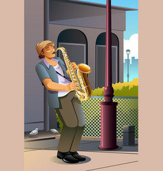 man playing saxophone vector image