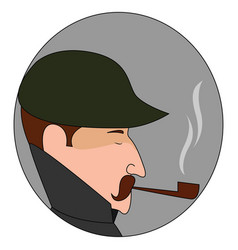 man with pipe on white background vector image