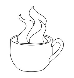 Monochrome contour with hot cup of coffee close up vector