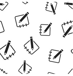 notepad edit document with pencil icon seamless vector image