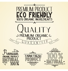 Premium quality organic health food headings vector