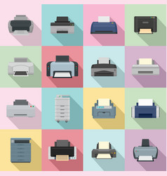 printer office copy document icons set flat style vector image