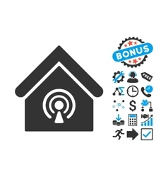 Radio Station Flat Icon with Bonus vector image
