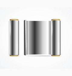 realistic 3d detailed shiny silver foil roll vector image