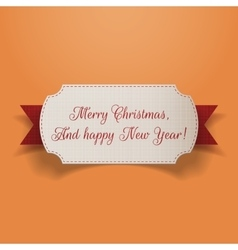 Realistic Christmas greeting Card and red Ribbon vector image