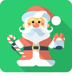 Santa Claus standing with gifts icon flat design vector image vector image