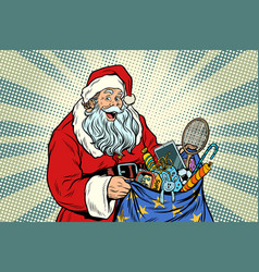 santa claus with bag toys vector image