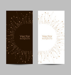 Set banners with connected lines and dots vector