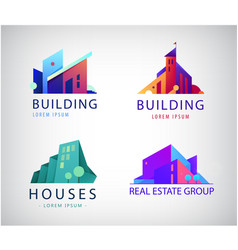 set colorful real estate logos city vector image
