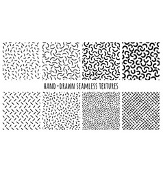 set hand-drawn seamless black and white vector image