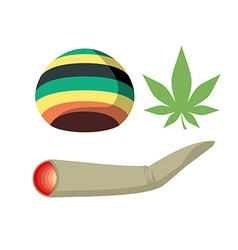 Set Jamaica drug addict Rasta CAP spliff and vector image