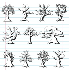 set of 11 decorative trees vector image