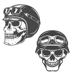 set of racer skulls isolated on white background vector image